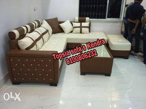 White and brown l shape sofa at cost rate