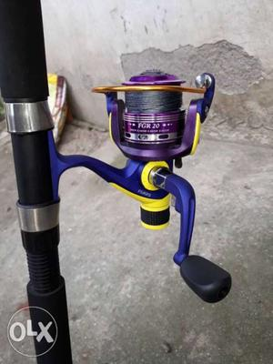 Blue And Purple Fishing Reel and rod