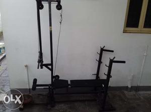 Home gym with 100 kgs weight, 2 dumbbell rods, One barbell
