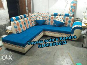 White and blue l shape sofa at cost rate