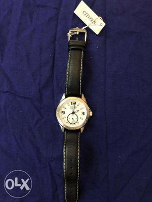 CITIZEN Men's white dial Black Leather Strap Quartz Watch