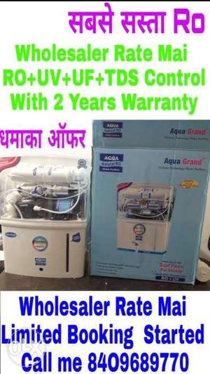 New 15 Liter Aqua Grand Water Purifier With 2 Year Warranty