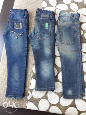 Two Blue Denim Jeans And Blue Denim Jeans