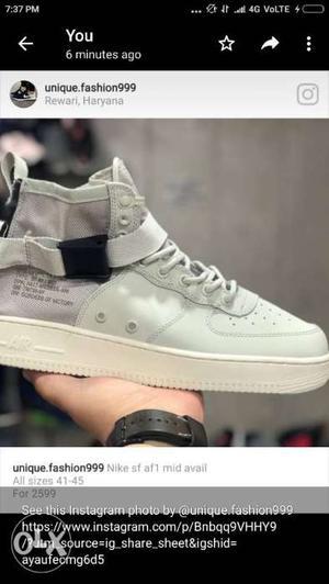 Unpaired Beige And White Nike Air Force One High Screenshot