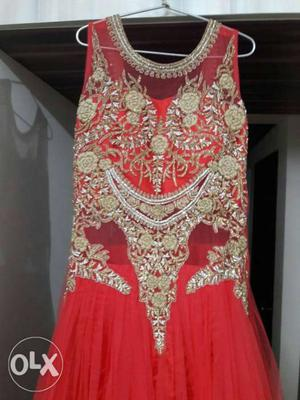 A very good coloured party wear evening gown with