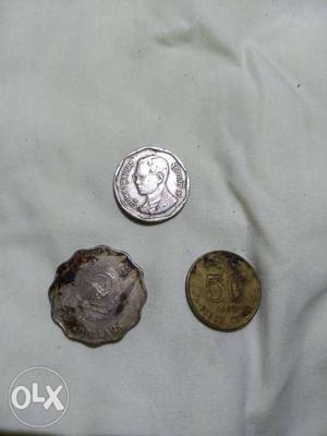 3 old coins 1) hong kong 2 dollars ₹)