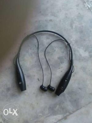 Black And Gray Bluetooth Neckband