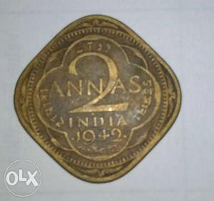 Old coin of India 2 Aanas minted in  during
