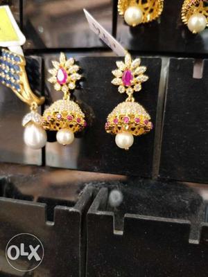 1 gram gold CZ jewellery jhumka