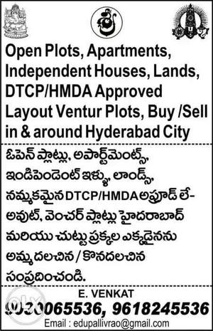 Open plots DTCP, HMDA Layouts in & around city.