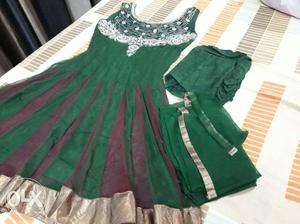 Anarkali suit with nice work on neck fabric: net