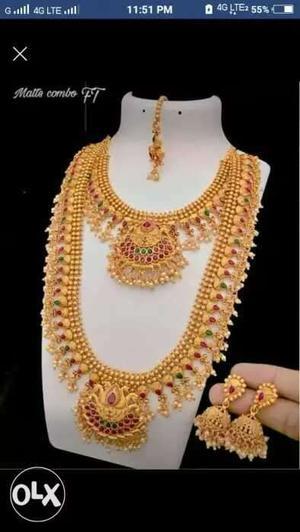 Gold matte finished bridal jewellery set long