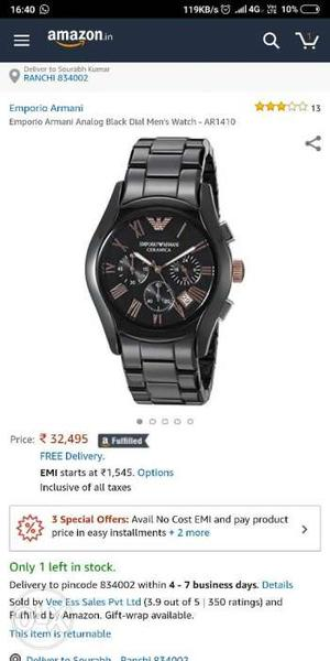 Brand new unused armani watch. just 1 day old.