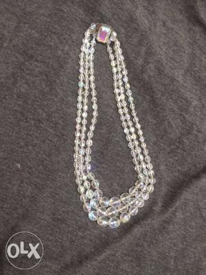 Triple layer crystal elegant necklace