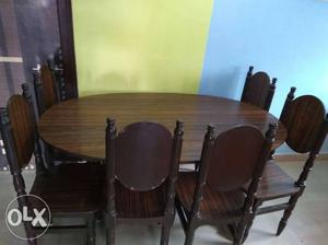 Dinning table with set of 6 wooden chairs