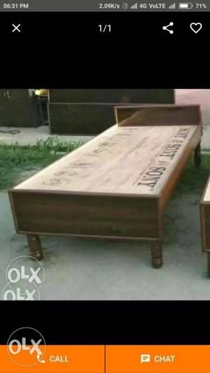 Wooden single bed without storage 6 by 3 ft