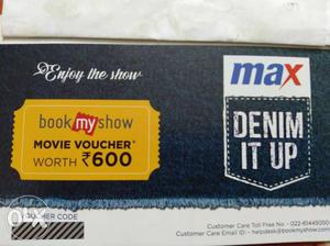 Book my show coupon of ₹600, available 2nos. for ₹500