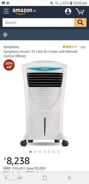 Water air cooler 3 year old with the original box