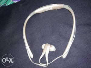 White And Gray Bluetooth Neckband