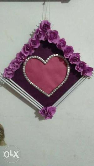 Purple And White Floral Photo Frame