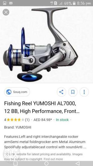 Gray And Blue Fishing Reels moter