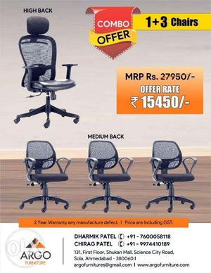 Hurry Good Combo Offer Available in Branded New Chairs