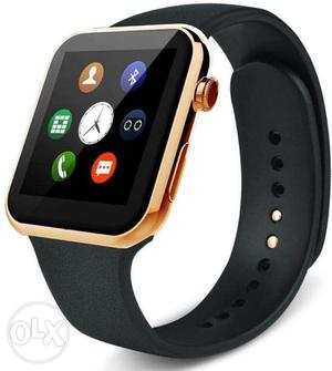 UFIT A1 Golden Smart Watch With Black Strap Brand NEW
