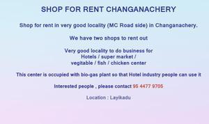 Shop for rent Changanachery
