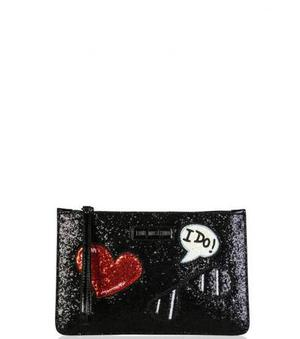 Love Moschino Black Glitter Wristlet at Darveys