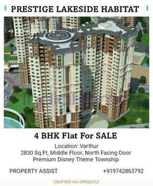 PRESTIGE LAKESIDE HABITAT: 4 BHK North Facing Flat SALE