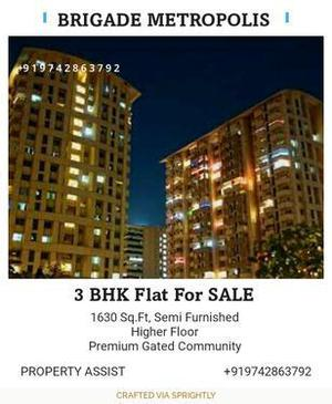 Brigade METROPOLIS: East Facing 3 BHK Semi Furnished Flat SA