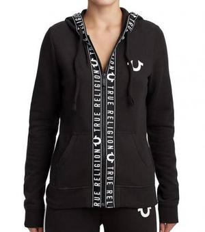 True Religion Black Logo Tape Hoodie at Darveys