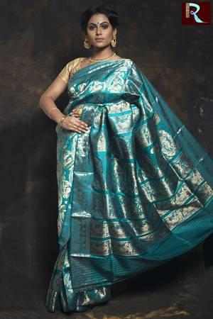 Light Blue Color Baluchari Silk Saree