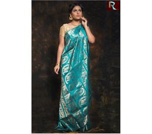 Light Blue Color Baluchari Silk Saree Kolkata