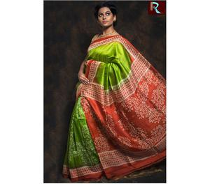 Light Green body with Red Pallu Pure Silk Saree Kolkata