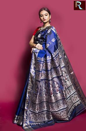 Navy Blue Baluchari Silk Saree