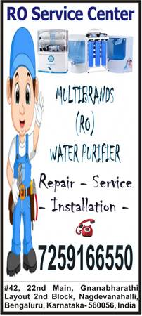 RO Water Filter Purifier Service Repair in Bangalore