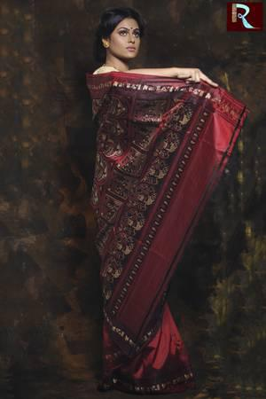 Red Body with Chocolate Pallu and Border Baluchari Silk