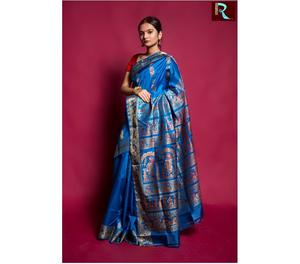 Sky Blue Baluchari Silk Saree Kolkata