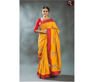 Yellow body with Red Pallu Designer Saree Kolkata