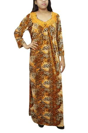 Indiatrendzs Women Winter Nightgown Tiger Print Yellow