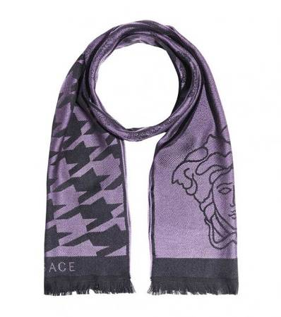 Versace Light Purple Wool Medusa Scarf at Darveys