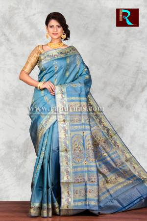 English Sky Blue Baluchari Silk Saree