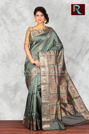 Grayish Green Baluchari Silk Saree