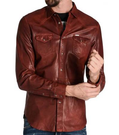 Diesel Rust Leather L-Sulro Shirt at Darveys