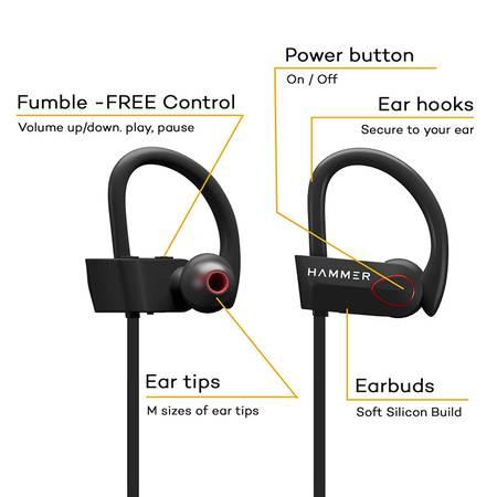 HAMMER Zest-H Wireless Bluetooth Sports Earphones for Mobile