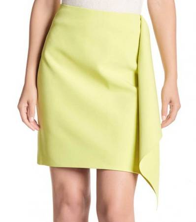 TED BAKER Yellow Asymetric Frill Pencil Skirt
