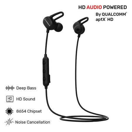 HAMMER Swing Sweatproof Wireless Bluetooth Earphones (Black)