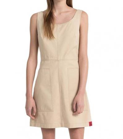 CALVIN KLEIN Beige Twill Dress at Darveys