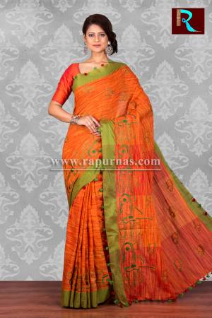 Pure Linen Saree with Orange body and Green Pallu
